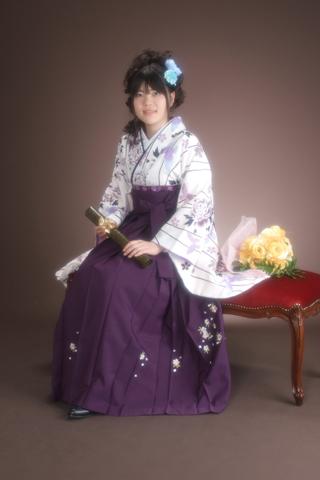 卒業式・卒業袴セット(白×紫)・座