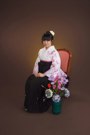 卒業式・卒業袴セット(白×黒)