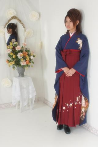 卒業式・卒業袴セット(紺×朱)