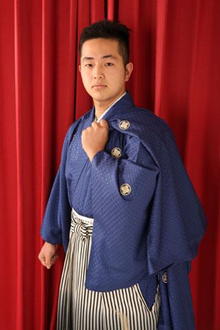 成人式・男性袴・青着物・袴縞