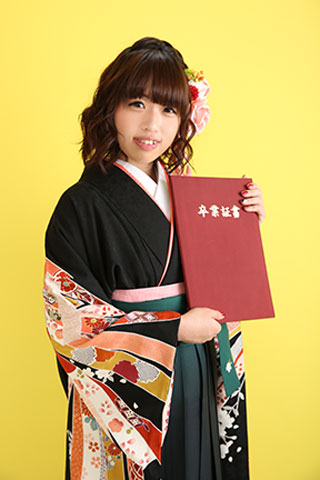 卒業式・卒業袴セット(黒×黒)