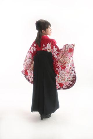 卒業式・卒業袴セット(赤×黒)
