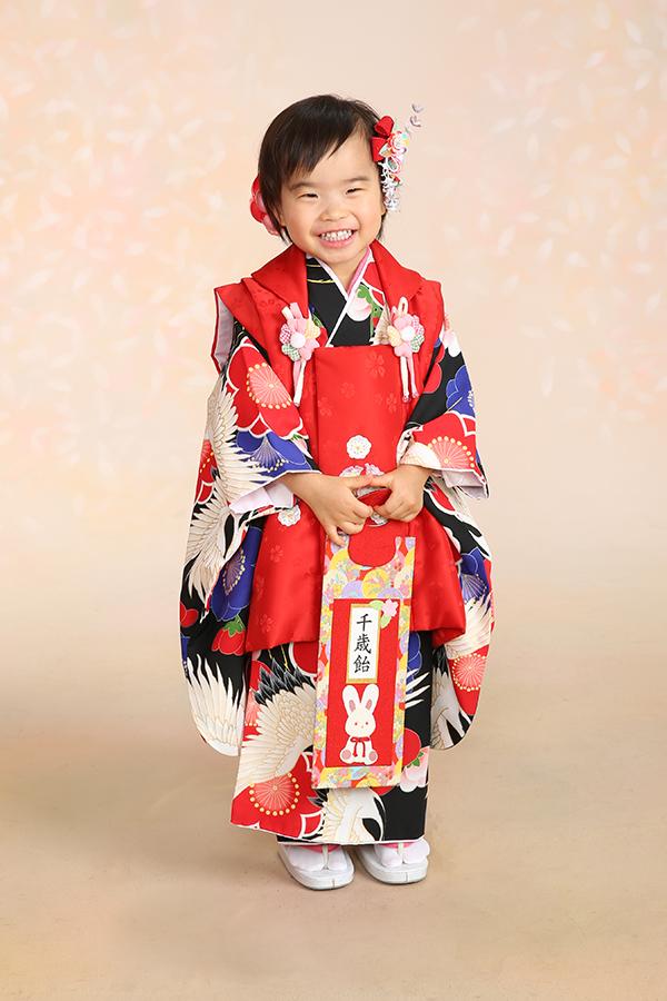 3歳祝着・白黒鶴・赤被布