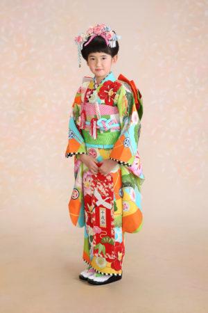 七五三・7歳・着物・古典大柄・オレンジ・水色・日本髪