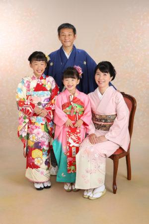 家族で着物・パパママ着物・七五三・7歳・10歳・1/2成人式