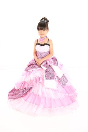 七五三・7歳・ドレス・ピンク・ヒョウ柄