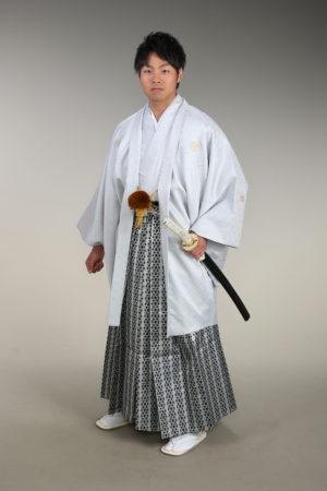 男性成人式・羽織袴・ライトグレー