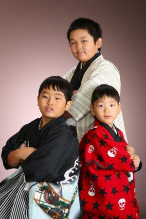 七五三・5歳・三兄弟着物撮影