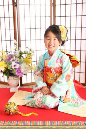 七五三・7歳着物・ミントブルー・水色×花柄