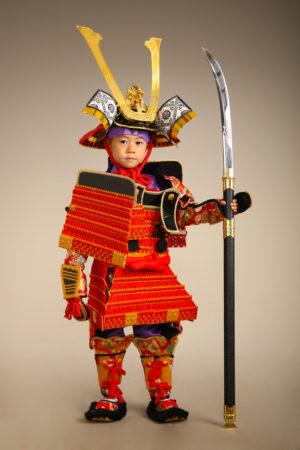 七五三・5歳・鎧兜・赤×金・龍