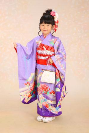 七五三・7歳着物・紫×古典柄・熨斗・蝶・菊