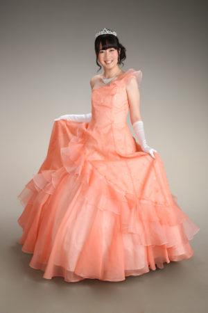 成人式・振袖・20歳・ドレス撮影・オレンジピンク・ワンショルダー