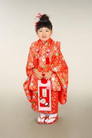 七五三・3歳着物×被布・赤×古典柄