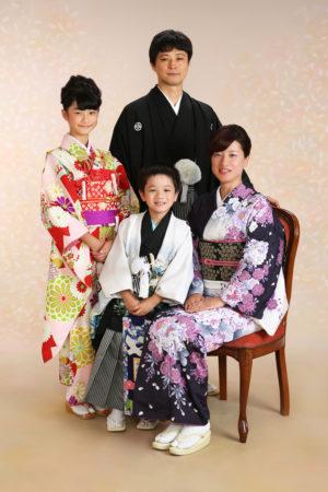 七五三・5歳袴・10歳着物・お母様・お父様・家族全員着物撮影