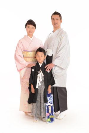 七五三・5歳袴・お母様・お父様・家族全員着物撮影