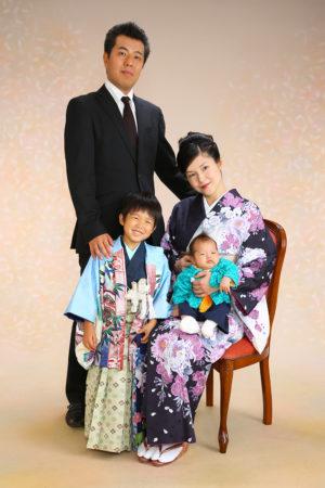 七五三・5歳袴・お母様着物・家族写真