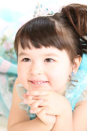 七五三・3歳・ドレス・水色フリル
