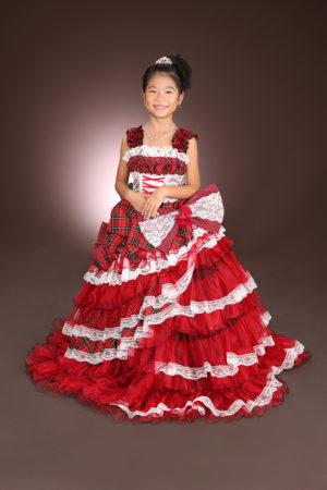七五三・7歳・ドレス・赤×白チェック柄