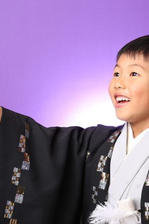 七五三・5歳・羽織袴・黒×シルバー