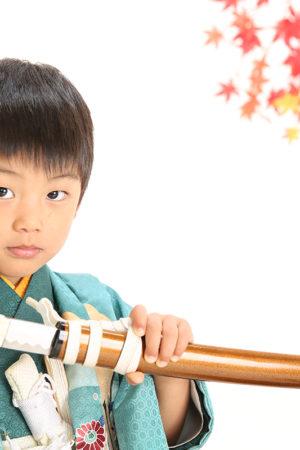 七五三・5歳・羽織袴・緑・剣
