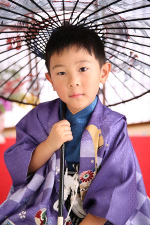 七五三・5歳・羽織袴・紫・傘
