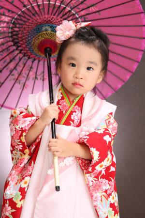 七五三・3歳・着物&被布・赤×ピンク・花柄