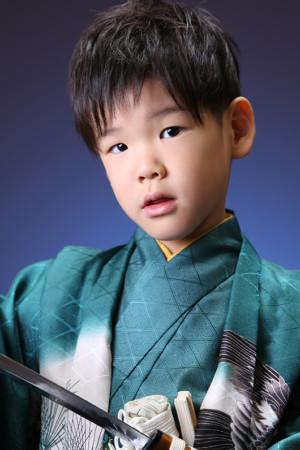 七五三・5歳・羽織袴・緑・古典柄