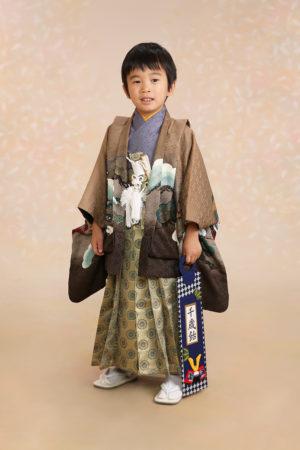 七五三・5歳・羽織袴・グレー×茶・古典柄