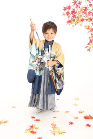 七五三・5歳・羽織袴・黄土×紺・古典柄