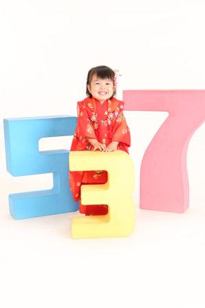 七五三・3歳・赤×古典柄