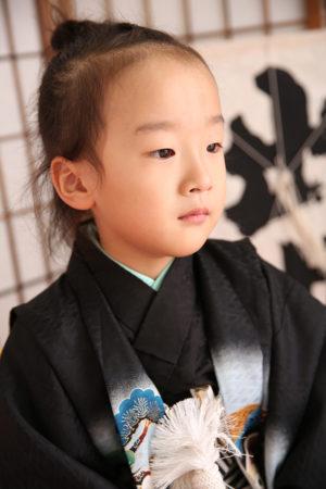 七五三・5歳・羽織袴・黒