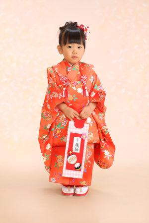 七五三・3歳・被布と着物・赤×古典柄