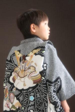 七五三・5歳・羽織袴・兜×鹿の子柄