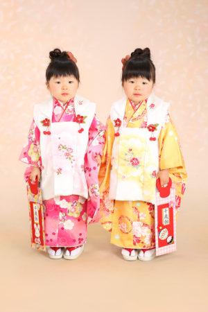 七五三・3歳・着物と被布・双子コーディネート・白×黄色・白×ピンク