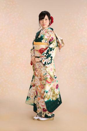 江戸川区・30年成人式振袖・緑×古典花柄