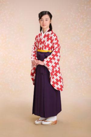 江戸川区・30年小学校卒業袴・赤矢羽×紫