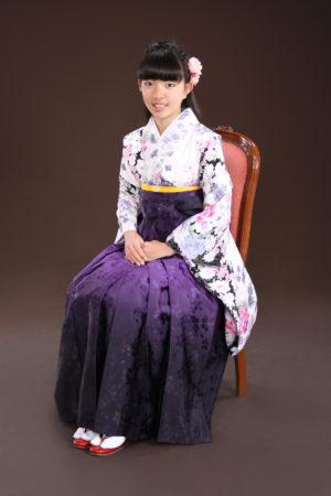 江戸川区・西一之江・30年小学校卒業袴・白×紫