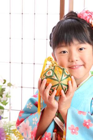 江戸川区 29年七五三 7歳着物 水色×花柄