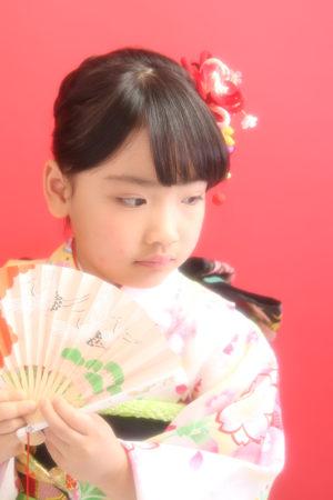 江戸川区 30年七五三 7歳着物 白×ピンク