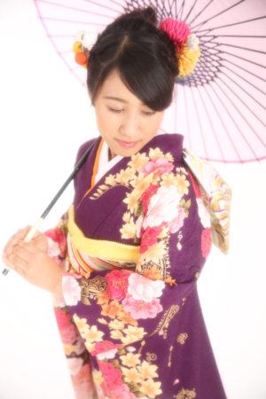 江戸川区・30年・成人式振袖・紫×オレンジ