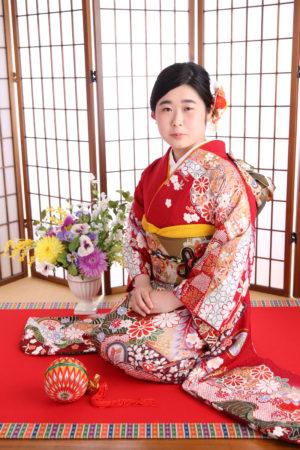 江戸川区・31年成人式・振袖・赤×古典柄