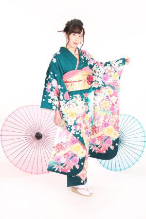 江戸川区・31年成人式・振袖・緑×白