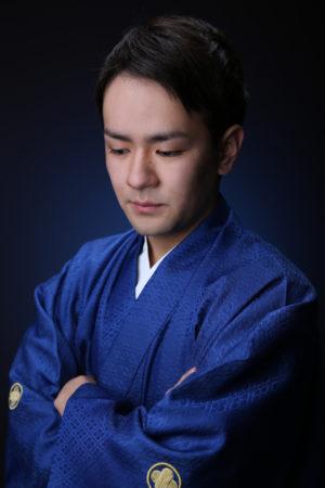 成人式・男性袴・青
