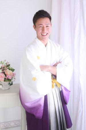 成人式・男性袴・白×紫ぼかし