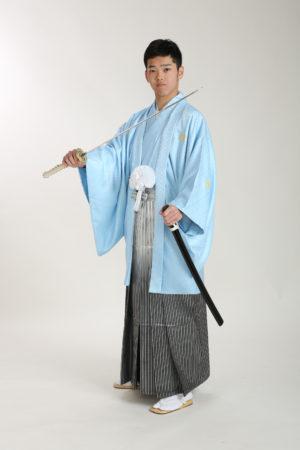 成人式男性袴・水色羽織・刀