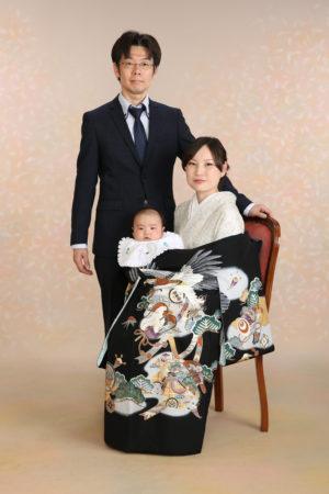 家族写真・お宮参り・お母様も着物