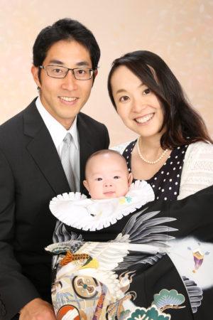 家族写真・お宮参り・掛け着・黒×鷹