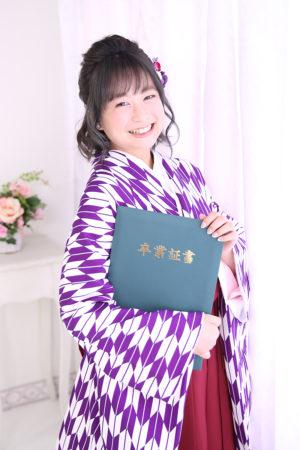 江戸川区・30年・卒業袴・矢絣(紫)