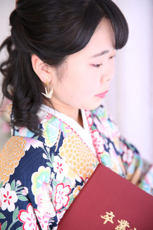 江戸川区・31年卒業袴・紺×黄菊