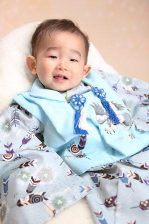 江戸川区・1歳記念・男の子・水色着物